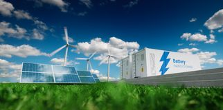 Free Concept Of Energy Storage System. Renewable Energy - Photovoltaics, Wind Turbines And Li-ion Battery Container In Fresh Nature. 3 Stock Image - 115144981