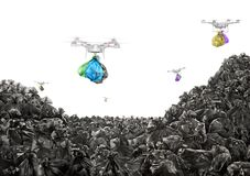 Free Concept Of Global Pollution. Drones Carry Garbage Bags Royalty Free Stock Images - 128317019