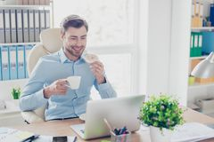 Free Concept Of Having Lunch Break At Work. Portrait Of Happy Satisfi Royalty Free Stock Photos - 110929688