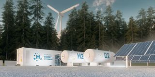 Free Concept Of Hydrogen Energy Storage From Renewable Sources Stock Photos - 168534183
