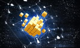Free Concept Of Internet And Networking With Digital Cube Figure On Dark Background Stock Photo - 121405460