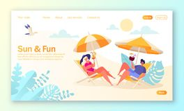 Free Concept Of Landing Page On Summer Vacation Theme. Outdoor Activity And Rest On The Beach. Royalty Free Stock Photography - 146278017
