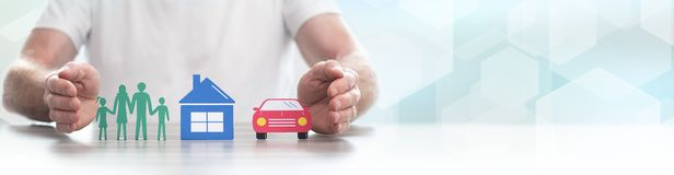 Free Concept Of Life, Home And Auto Insurance- Panoramic Banner Royalty Free Stock Photos - 157096618