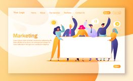 Concept Of Marketing Team Landing Page. Team Work With Flat Business People Characters Holding Horizontal Empty Banner. T Royalty Free Stock Image