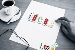 Concept office cup of coffee and word ideas Stock Photo