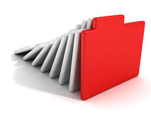 Concept office document paper folders with red one Royalty Free Stock Image
