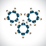 Concept of office employees as cogwheels or gear wheels - flat v. Ector design. This can also represent teams interacting and collaborating, unison, sync Royalty Free Stock Photo
