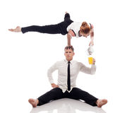 Concept of ??office multitasking. Businessmen Stock Image