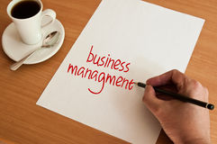 Concept office  and  words business management on white page Royalty Free Stock Photos