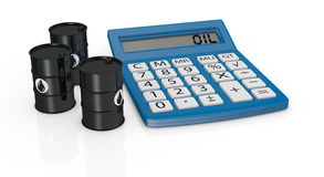 Concept of oil business. Oil barrels with a big calculator near them (3d render Royalty Free Stock Photo