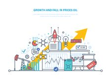 Oil crisis. Dynamics growth and fall in prices oil, sale. Concept of oil crisis. Dynamics growth and fall in prices oil, sale. Oil industry, pipe, gasoline tank Stock Photos