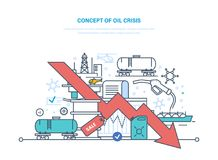Concept of oil crisis. Dynamics rise and fall prices, sale. Concept of oil crisis. Oil industry, pipe, gasoline tank, industrial plant. Extraction and Stock Images