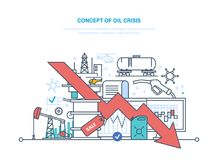 Concept of oil crisis. Dynamics rise and fall prices, sale. Concept of oil crisis. Oil industry, pipe, gasoline tank, industrial plant. Extraction and Royalty Free Stock Image
