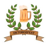 Concept for Oktoberfest with a picture of a beer glass on an isolated background royalty free illustration