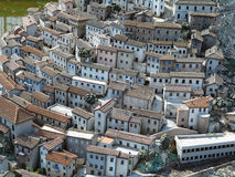 Concept of old medieval city, streets and small houses with tile Royalty Free Stock Image