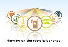 The concept of the old telephone icons Royalty Free Stock Images