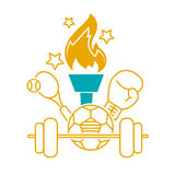 Concept of the Olympic Games. In the form of sports facilities and Olympic fire. international Day of Sport for Development and Peace. Icon in the linear style Royalty Free Stock Photos