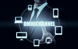 The concept of Omnichannel between devices to improve the performance of the company. Innovative solutions in business Stock Photos
