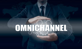 The concept of Omnichannel between devices to improve the performance of the company. Innovative solutions in business Stock Photo