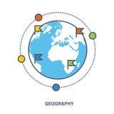 Concept onderwijs Aardrijkskunde als onderworpen discipline vector illustratie
