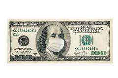 Free Concept, One Hundred Dollars With Benjamin Franklin Masked By A Virus. Coronavirus Protection. Horizontal Frame Stock Photos - 176968803