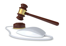 Concept of online auction. One gavel with a mouse, concept of online auction (3d render Stock Images