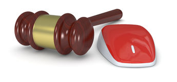 Concept of online auction. One gavel with a mouse, concept of online auction (3d render Royalty Free Stock Images
