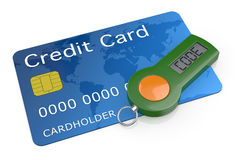 Concept of online banking service. One password generator for home banking with a credit card (3d render Stock Photography