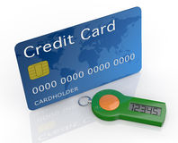 Concept of online banking service. One password generator for home banking with a credit card (3d render Royalty Free Stock Photo