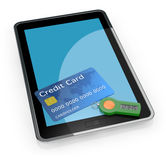 Concept of online banking service. One tablet pc with a password generator for home banking and a credit card (3d render Stock Photo