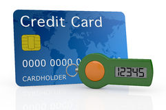 Concept of online banking service. One password generator for home banking with a credit card (3d render Royalty Free Stock Image