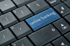 Concept of online banking. Word online banking on button of computer keyboard stock photography