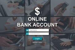 Concept online bankrekening stock afbeeldingen