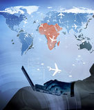 The concept of online booking for air travel Royalty Free Stock Photo