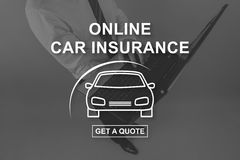 Concept of online car insurance Royalty Free Stock Photography