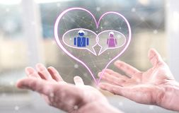Concept of online dating. Online dating concept above the hands of a man royalty free stock photos