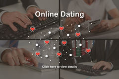 Concept of online dating. Online dating concept illustrated by a picture on background Stock Photos