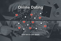 Concept of online dating. Online dating concept illustrated by pictures on background stock photos