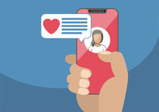 Concept of online dating and mobile chat app. Male hand holding modern royalty free illustration