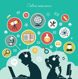 Concept of online education. Modern illustration concept. Iinfographics background education. Concept of online education vector illustration