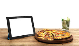 Concept of online food ordering, food delivery, the food is clos. E to the tablet on a wooden boards 3d Stock Photos