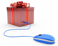 Concept of online gift, giftbox connected with a computer mouse Stock Photo