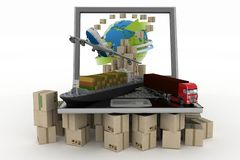 Concept of online goods orders worldwide. Cardboard boxes around globe on laptop screen, cargo ship, truck and plane. Concept of online goods orders worldwide royalty free illustration