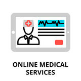 Concept of online medical services icon. Modern flat editable line design vector illustration, concept of online medical services icon, for graphic and web Stock Photography