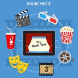 Online movie concept. Concept online movie, tablet pc with cinema on screen, flat icon style, isolated vector illustration Royalty Free Stock Photo