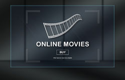 Concept of online movies. Online movies concept on dark background Stock Images