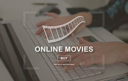 Concept of online movies. Online movies concept illustrated by a picture on background Stock Image