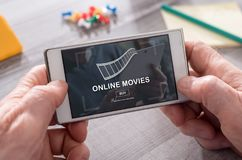 Concept of online movies. Online movies concept on mobile phone Stock Photo