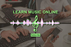 Concept of online music lesson Stock Photo