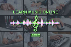 Concept of online music lesson Stock Photos